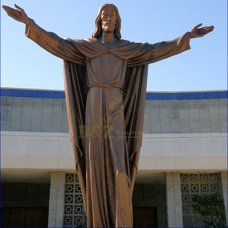 Modern Metal Brass Meditating Jesus Statue Sculpture