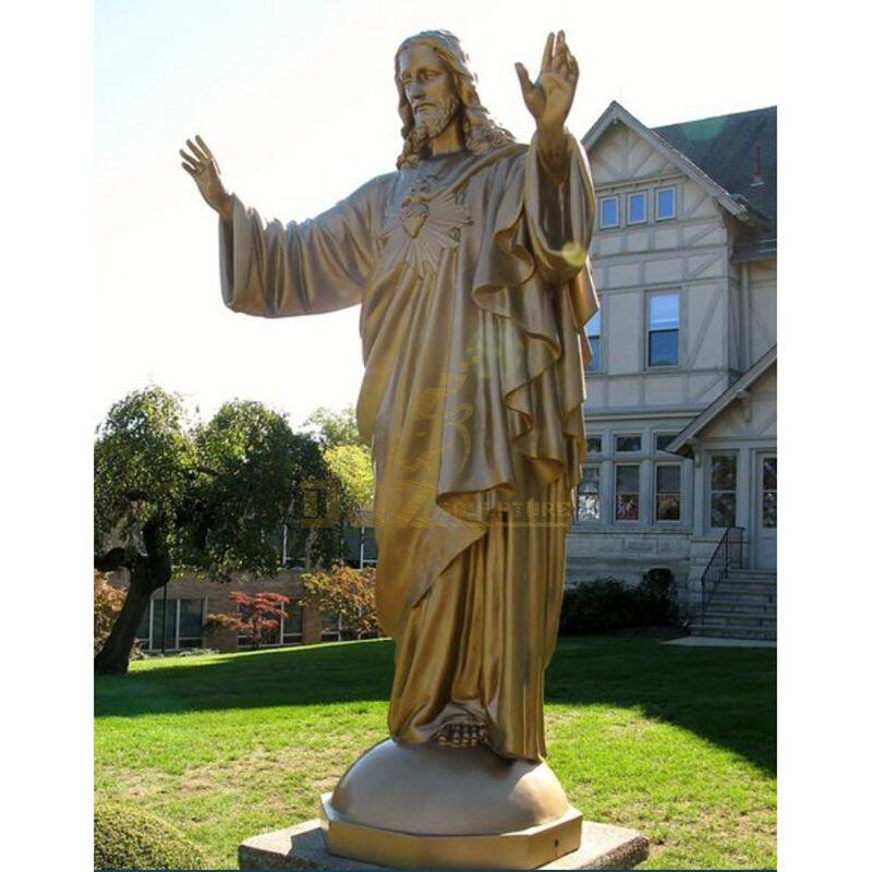 Metallic Golden Bronze Sacred Heart Jesus Religious Sculpture