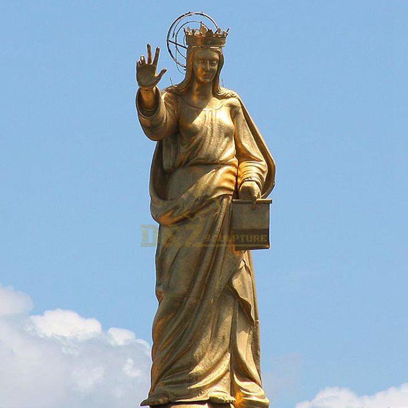 Religious Church Products Golden Colour Bronze St Virgin Mary Garden Statue