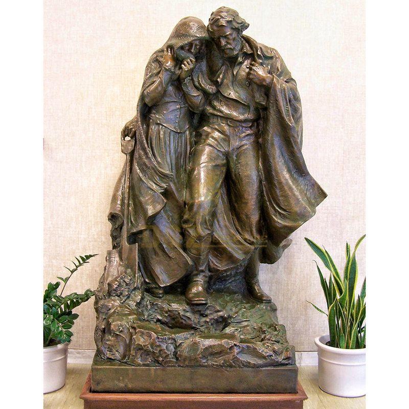 Bronze Virgin Mary Jesus Triptych Sculpture Catholic Religious Statues