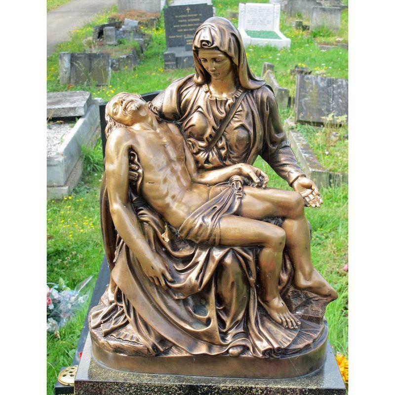 Antique Metal Bronze Virgin Mary Mourn Jesus Sculpture Statue