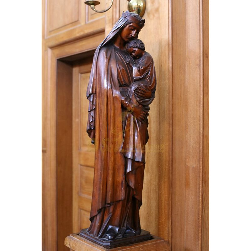 High Polishing Life Size Virgin Mary And Jesus Bronze Statue
