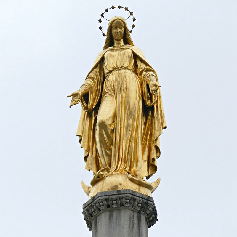 Religious Bronze Sculpture Life Size Our Mercy Lady Virgin Mary Statue