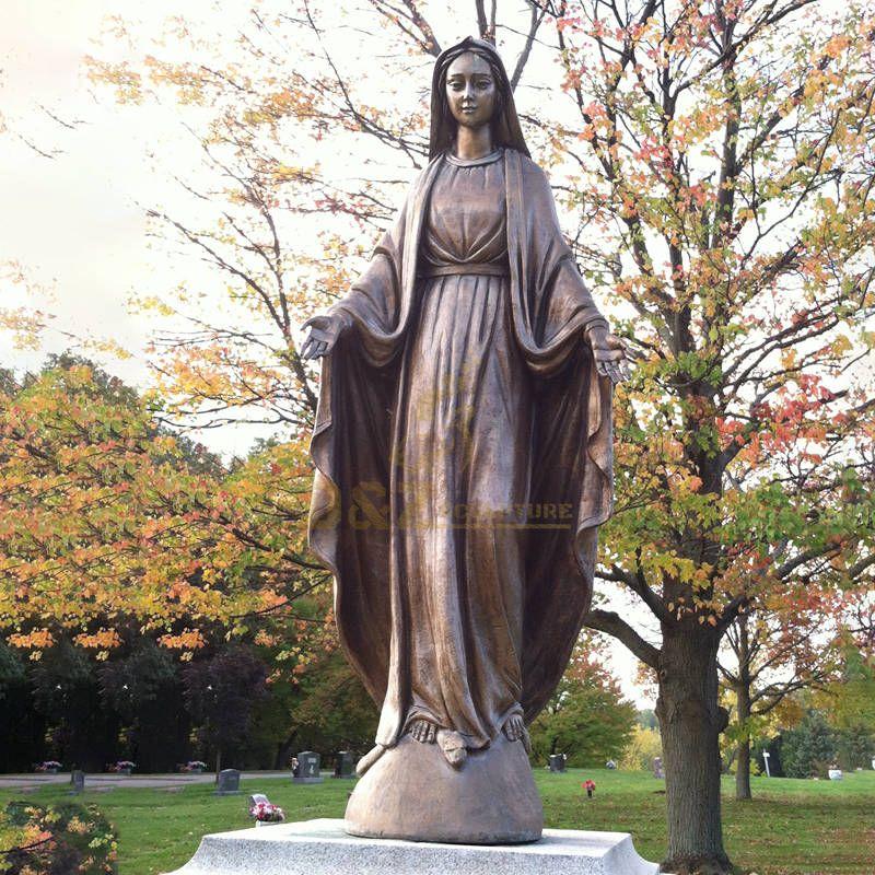 Famous Religious Figure Sculpture Bronze Virgin Mary Statue Open Arm