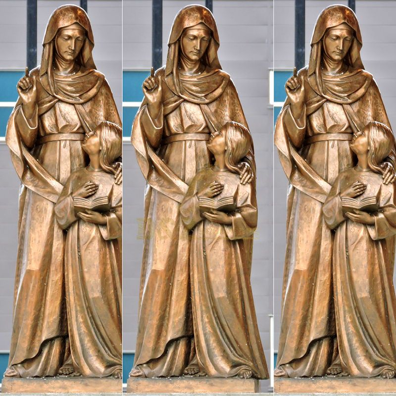 Bronze Religious Mary And Little Jesus Sculpture For Church
