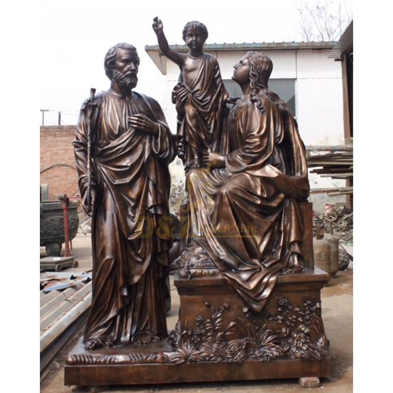 Home Yard Popular Sculpture Design Bronze Holy Family Statue