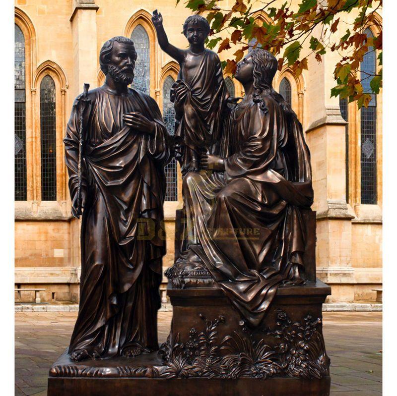 Life Size Religious Bronze Holy Family Statue
