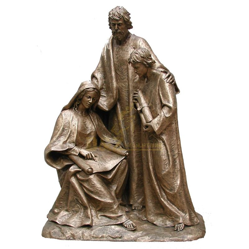 Life Size Religious Bronze Holy Christian Family Figurines Statue