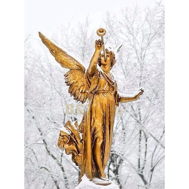 Golden Bronze Sculpture Of Angel Blows Trumpet Archangel Garden