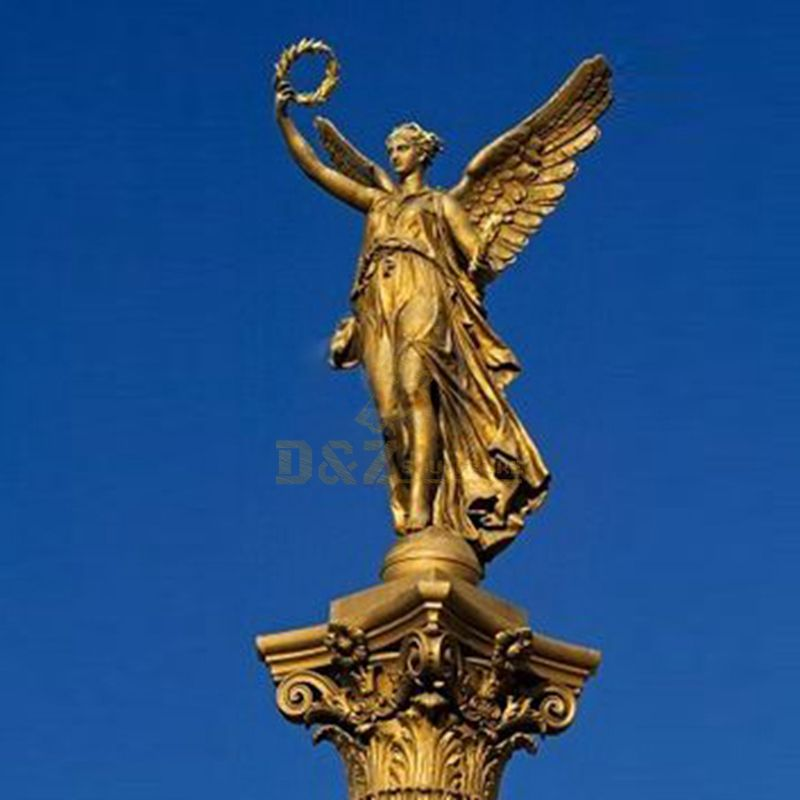 Bronze Casting Gold Outdoor Large Angel Statues Guardian Angel Garden Statue