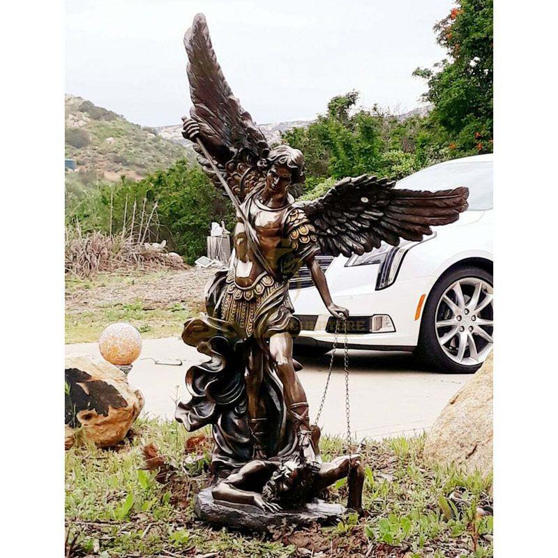 Catholic Angel Sculpture Large Archangel St. Michael Slaying the Devil Bronze Statue