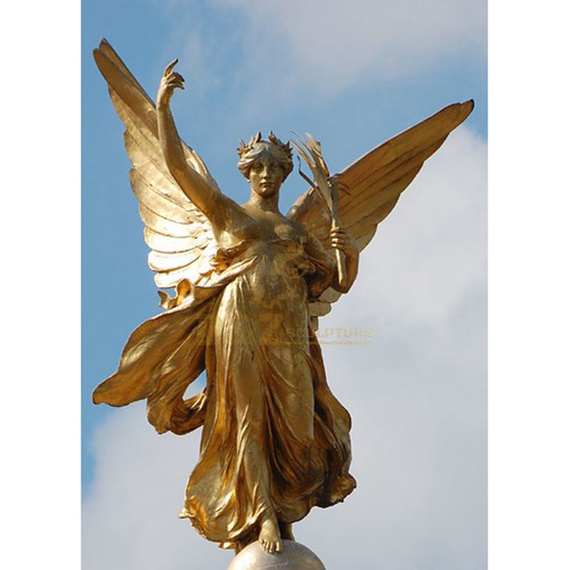 Giant Garden Bronze Winged Angel Statue With Holding Feather
