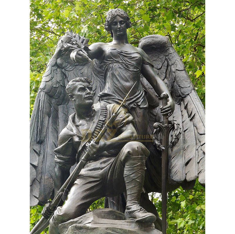 New Products Bronze Large Angel Statues With A Soldier