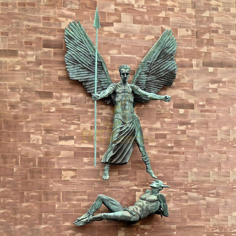 Life Size Casted Metal Bronze Male Angel Sculpture Statue With Sword