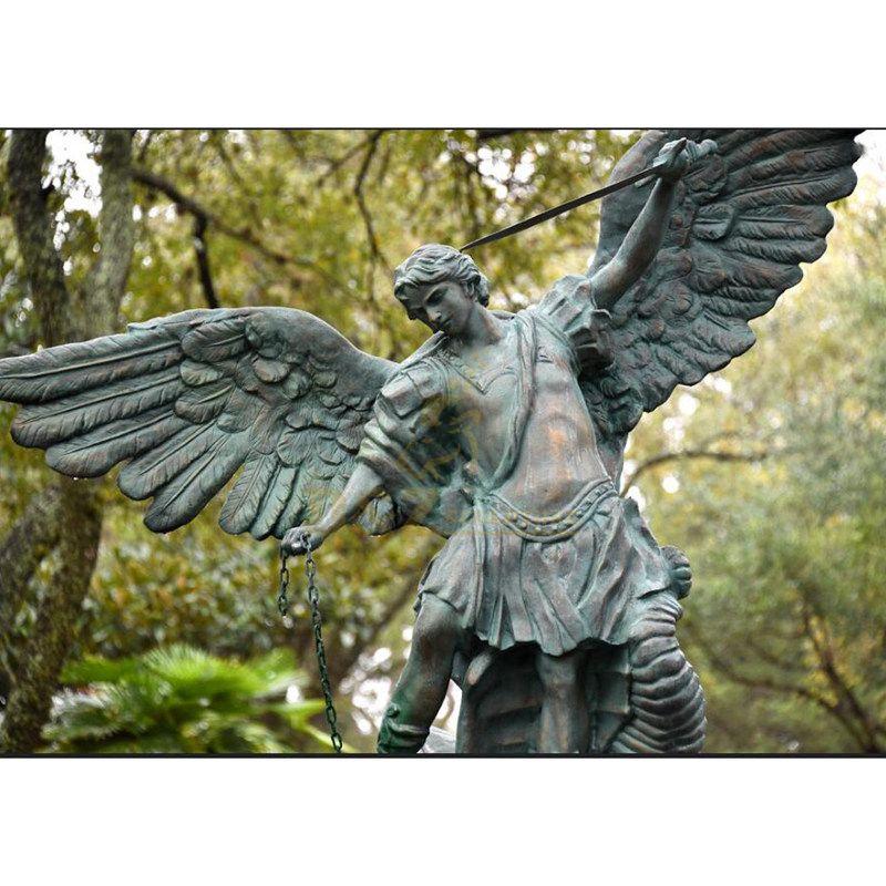 Garden Decor Life Size Bronze Saint Michael Archangel Statue