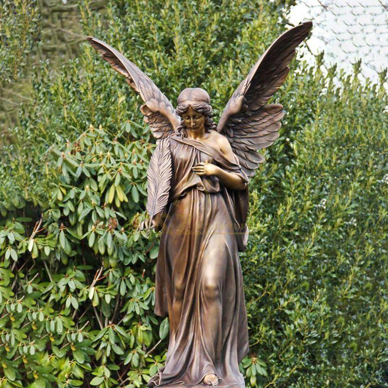 Life Size Garden Decorative Metal Art Casting Woman Winged Antique Bronze Angel Statue