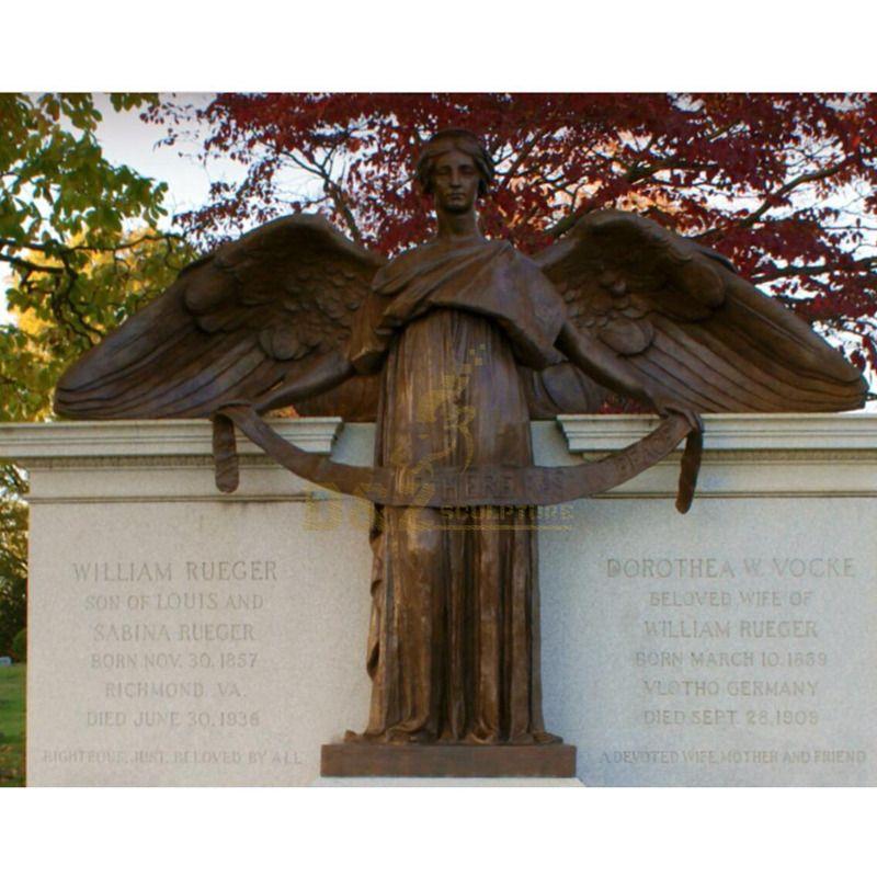 Hand Carved Outdoor Garden Life Size Bronze Angel Statue