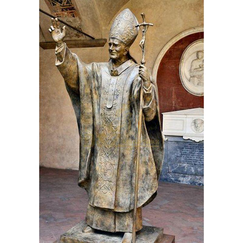 Life Size Bronze Pope John Paul II Sculpture For Sale