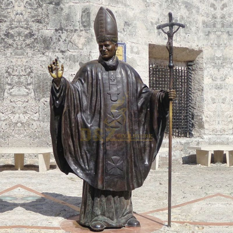 Europe Religious Life Size Famous Roman Catholicism Pope Casting Bronze John Paul II Statue