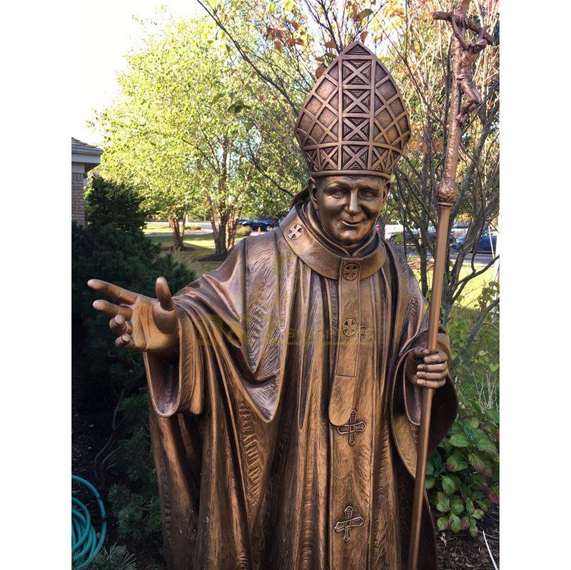 Handmade Garden Decoration Casting Art Bronze Statue Pope John Paul II