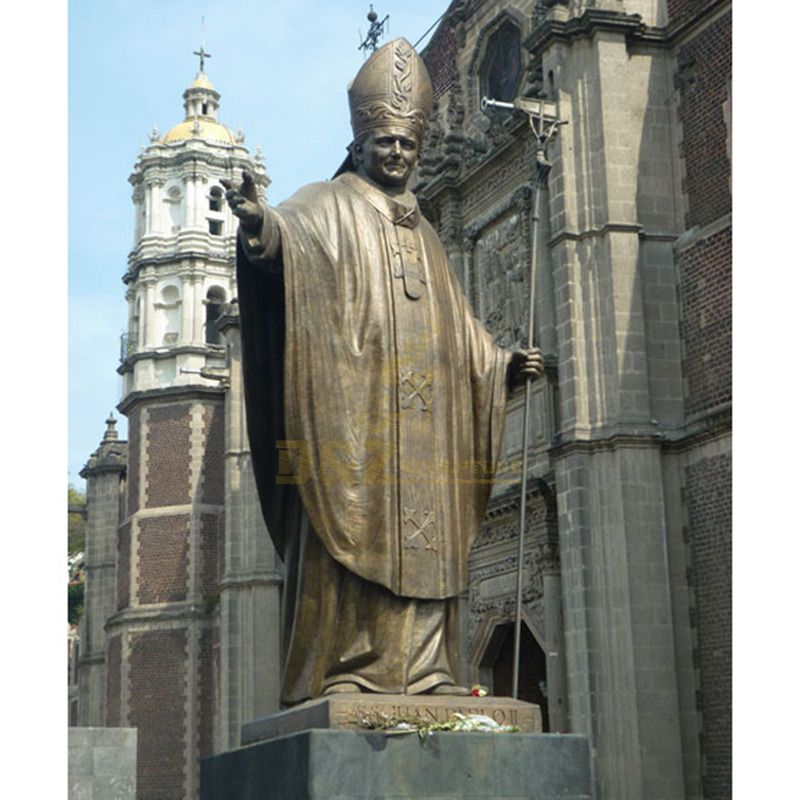 Religious Bronze Statues Of Blessed Pope John Paul II Sculpture