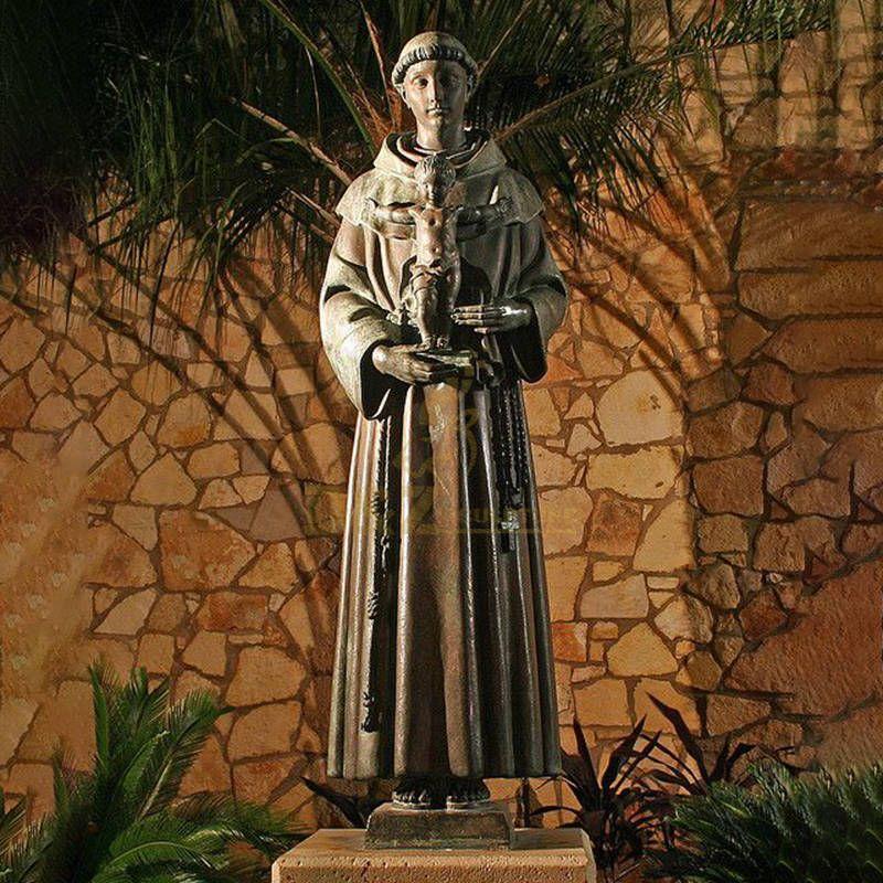 Catholic Religious Bronze Saint Anthony Sculpture Holding Baby Jesus Statue