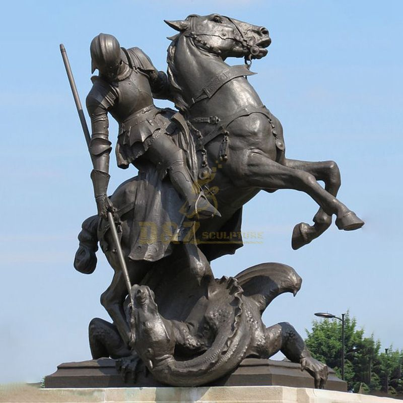 Large Size Bronze Statue Of Saint George Fighting The Dragon