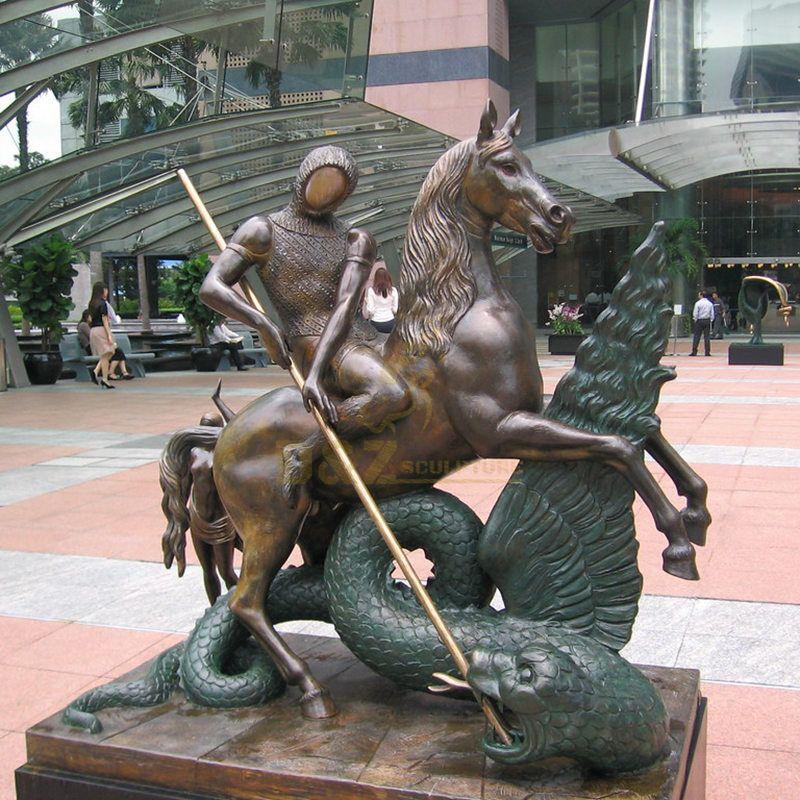 Park Put Handmade St. George Statue With Dragon