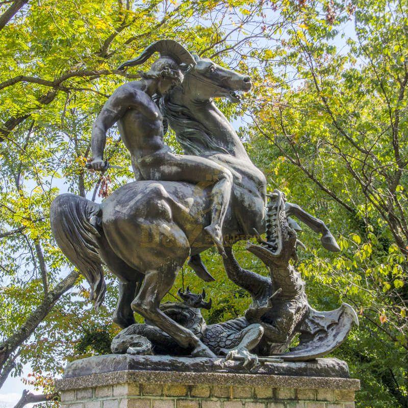 Huge Bronze Saint George On Horseback Killing The Dragon Statue