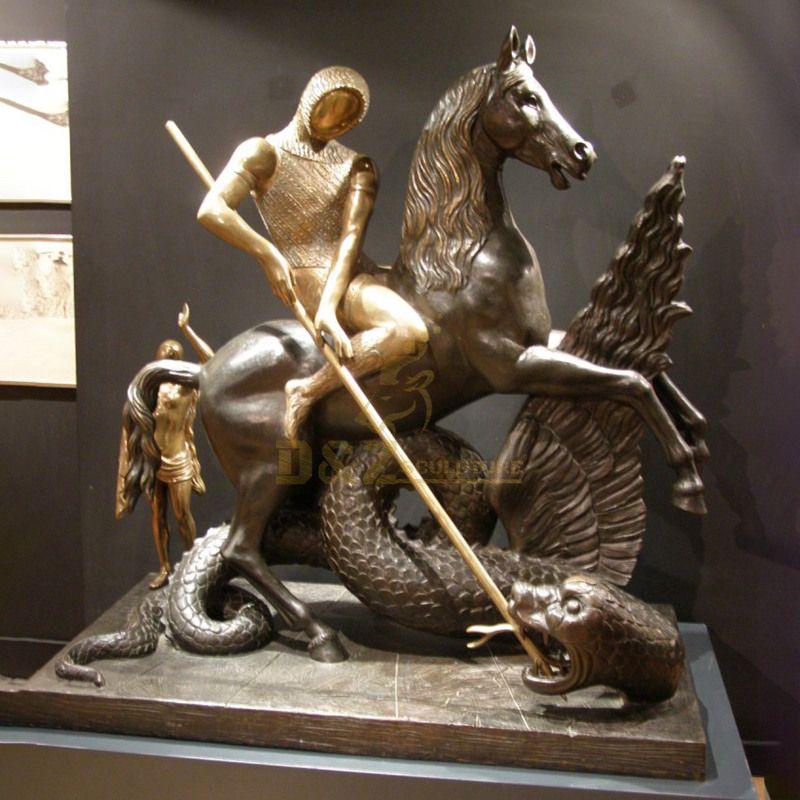 Custom Bronze Statue Of Saint George And The Dragon