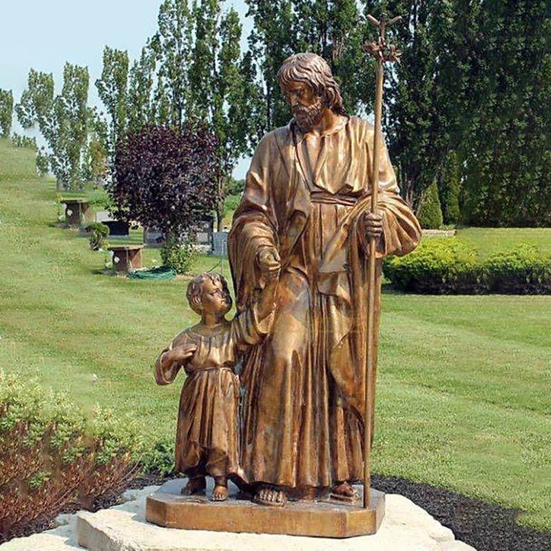 Large Religious Bronze Saint Joseph With Babay Jesus Statue Sculpture