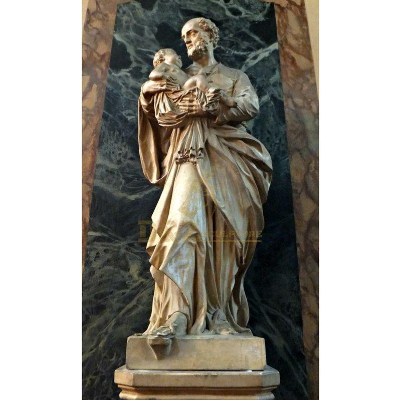 Church Garden Decor Bronze St.Joseph With Child Statue