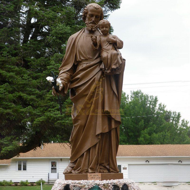 Antique Cast Bronze Art Crafts Life Size St Joseph Statue For Religious Church Deco