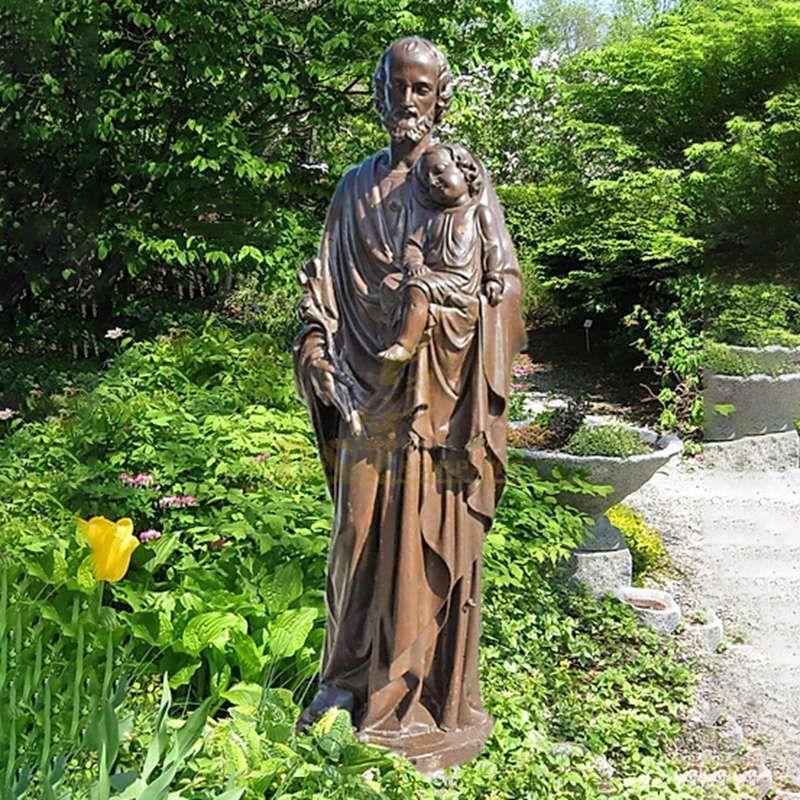 Famous Bronze Catholic Religious Bronze St. Joseph Statue