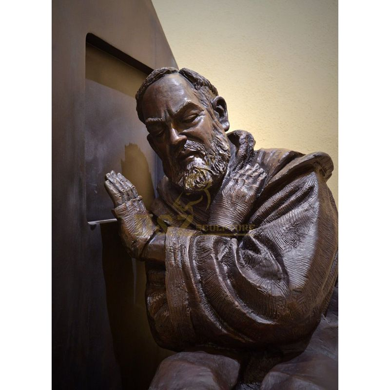 Customized Size Outdoor Garden Decoration Hand Cast Bronze Padre Pio Sculpture