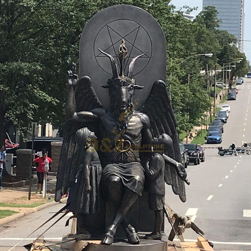 Satanic Temple Protests Ten Commandments Monument With Goat Headed Bronze Statue