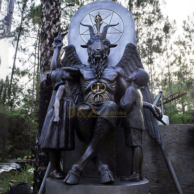 Large Size Religious Mythological Metal Carved Satan Statue
