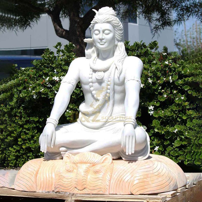 Hand Carved Garden Life size Buddha India Marble Lord Shiva Statue
