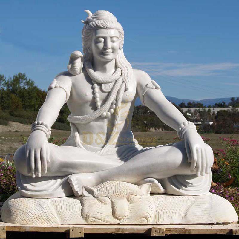 Classic Hindu God Sculpture White Marble Shiva Statue