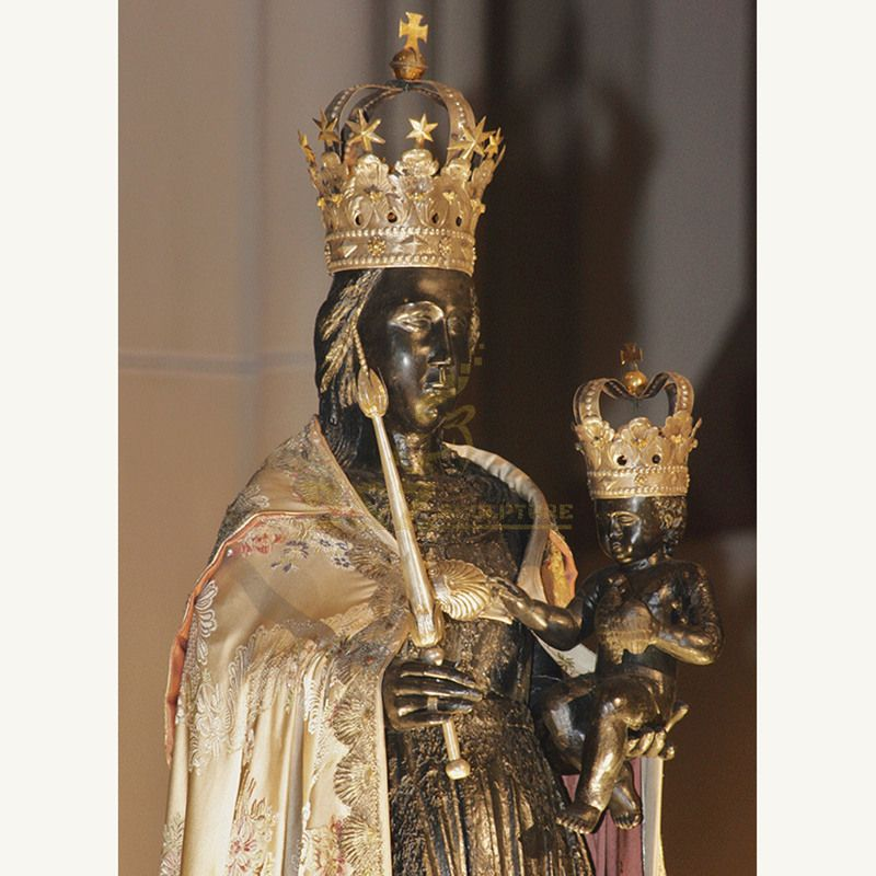 Religious Resin Black Madonna Bust Statue
