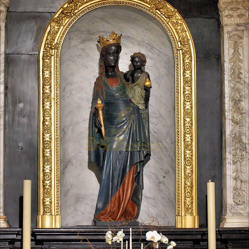 Black Madonna Child Statue Church Sculpture