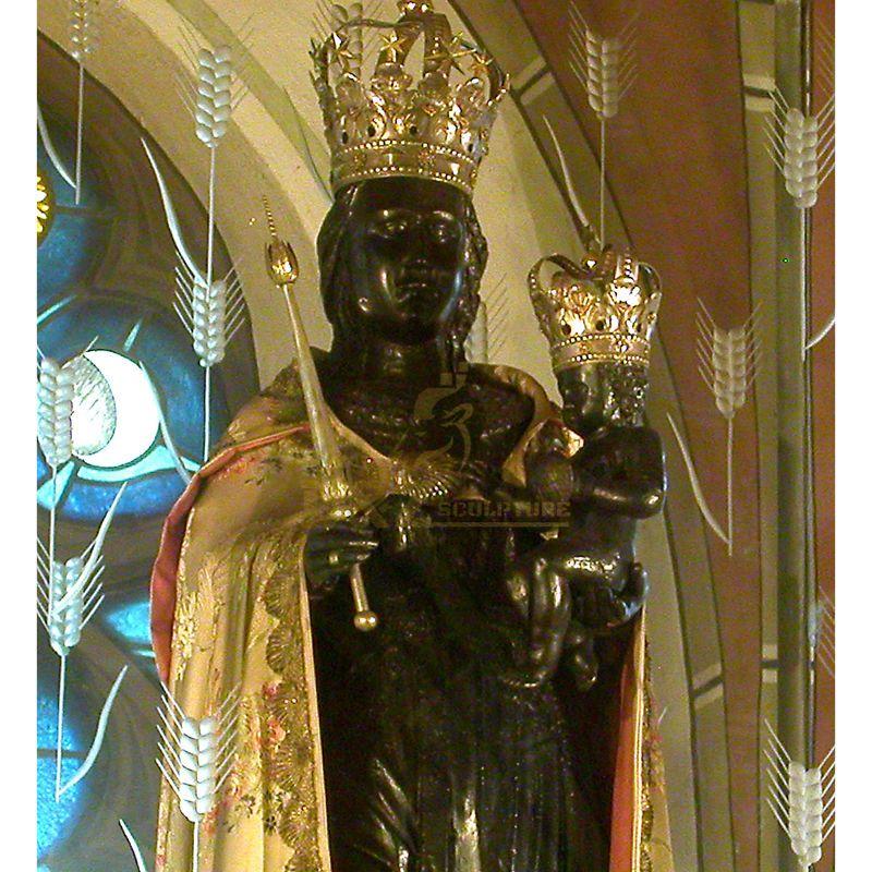 Black Madonna Child Statue Catholic Church Decoration