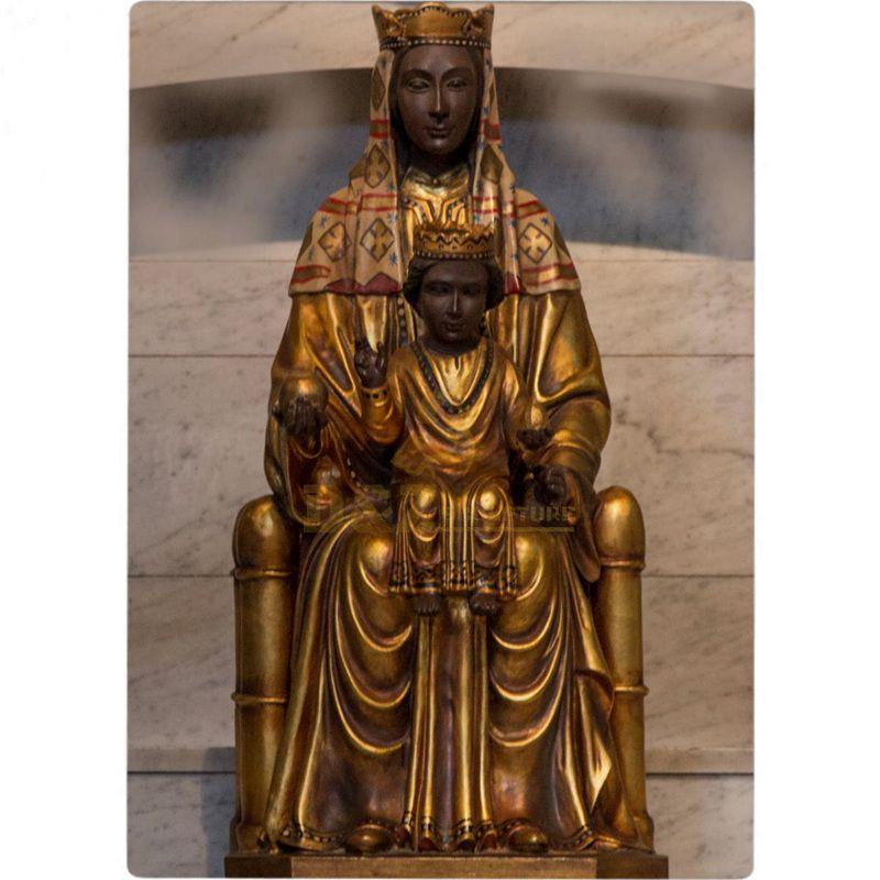 Black Madonna Child Statue Virgin Mary Sitting Sculpture