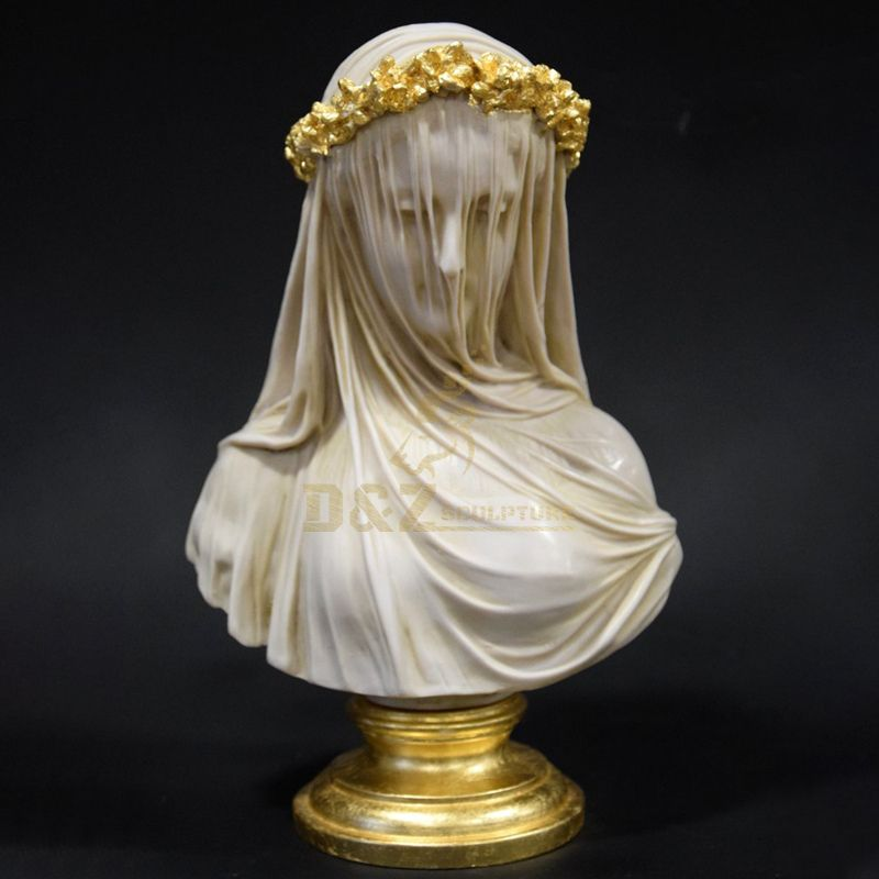 Interior Decoration Marble Masked Virgin Mary Bust Sculpture