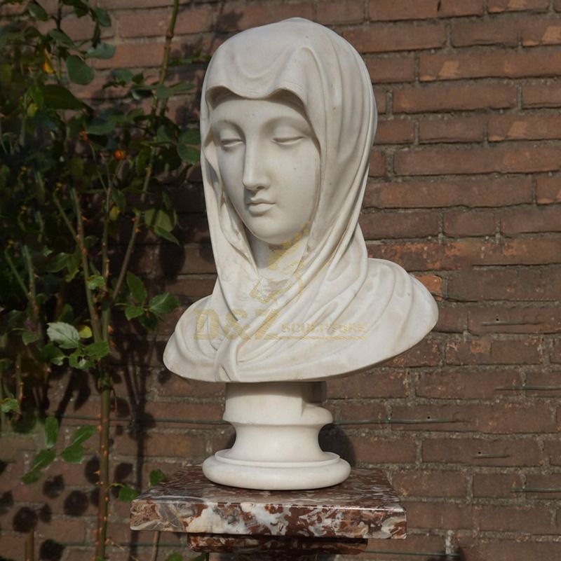 White Marble Lady Bust Statue Virgin Mary Bust Sculpture