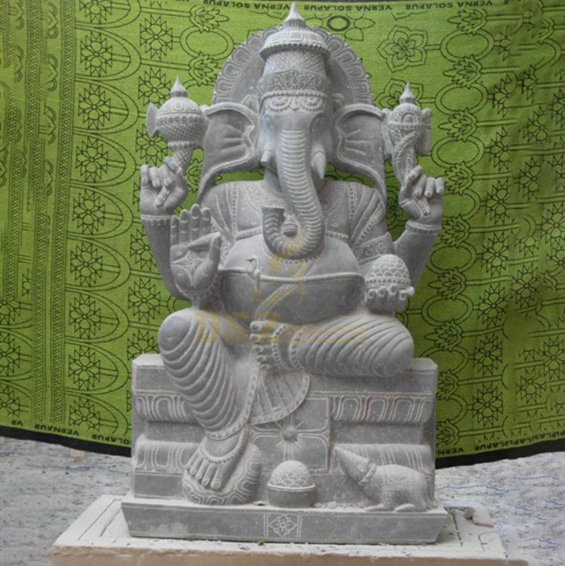 Stone Powder Material Religious Murti Ganesha Statue