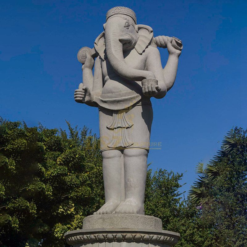 Handcarved Nature Stone Elephant Head Hindu God Statues
