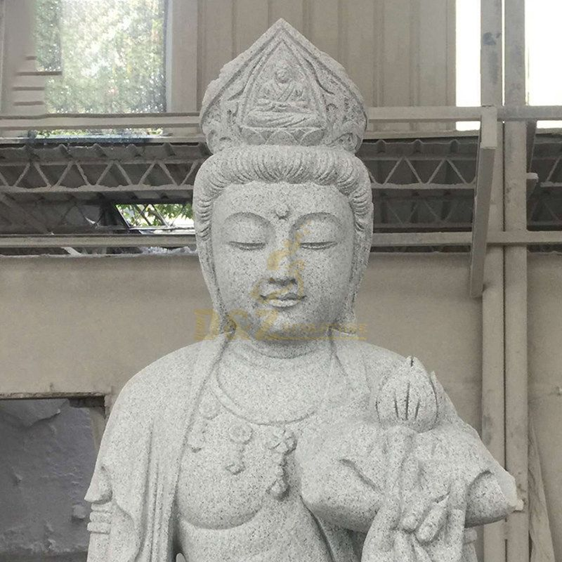 Religious Standing Bodhisattva Buddha White Marble Statue