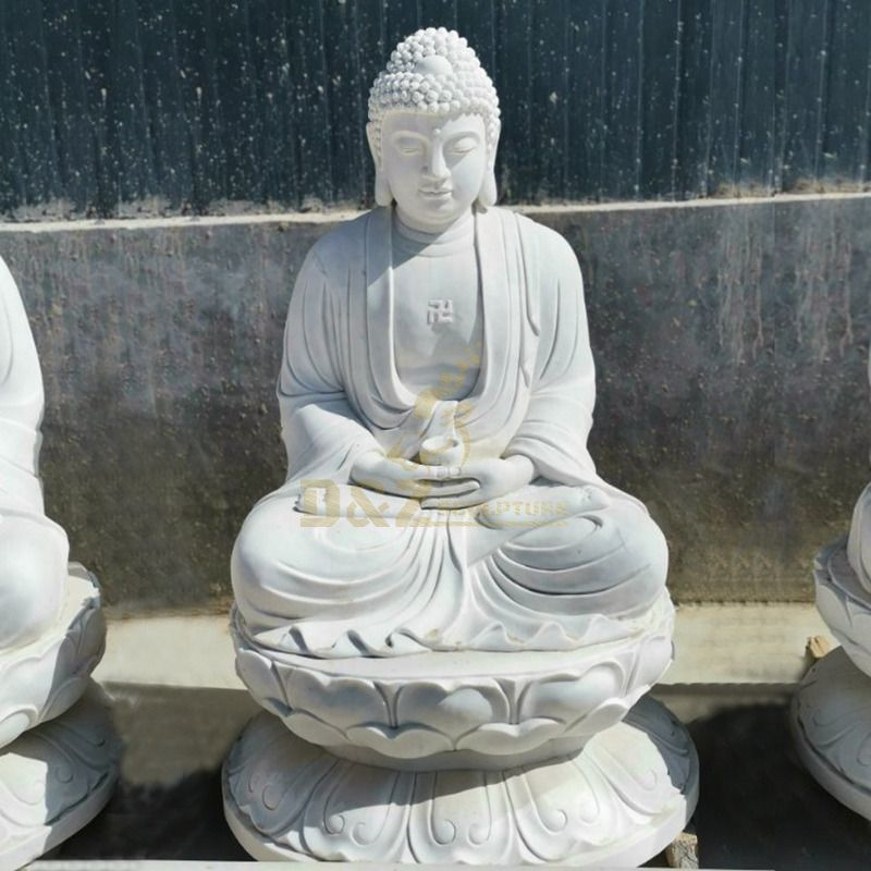 Antique Indoor Life Size White Marble Stone Sitting Buddha