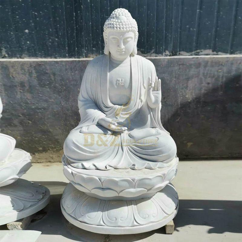 White Marble Buddha Sitting On Lotus Statue